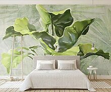 Ptcta Tapete handgemalte Blätter frische grüne