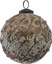 PTMD Christbaumkugel aus Glas grün-gold 10 cm