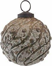 PTMD Christbaumkugel aus Glas grün-gold 7 cm