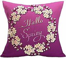 PU Ran Überwurf Kissenbezug Fall mit Frühling Greenery Lavendel Fruit Flower drucken Home Dekorieren, # A, M