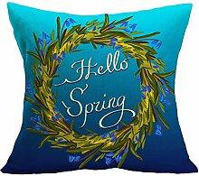 PU Ran Überwurf Kissenbezug Fall mit Frühling Greenery Lavendel Fruit Flower drucken Home Dekorieren, # B, M