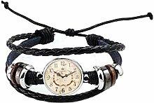 PU120 Traumuhr und Uhr im Retro-Stil, rund, Glas