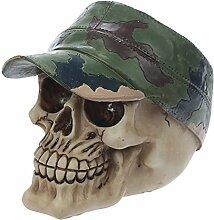 Puckator Schädel-Dekoration Cap Militärische, Polyresin, beige/grün/braun, 16x 9,5x 12cm