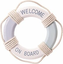 Puckator SEAS44 Gegenstand Deko Rettungsring Board Welcome, aus Holz
