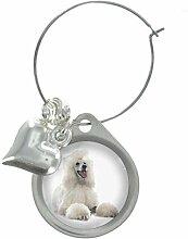 Pudel Hund Bild Design Weinglas Anhänger mit schicker Perlen
