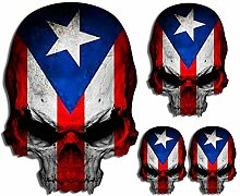 Puerto Rico-Flagge Totenkopf Aufkleber