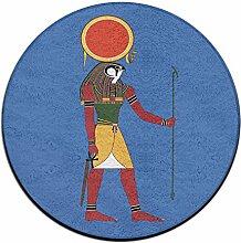 Puffy Ägyptischer Gott, runder Boden Teppich Doormats für Esszimmer, Wohnzimmer Schlafzimmer Küche Badezimmer, Balkon