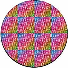 Puffy Regenbogen-Meerjungfrau-Fischschuppen-Teppich Doormats für zu Hause, Decorator Esszimmer Schlafzimmer Küche Badezimmer, Balkon