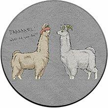 Puffy Süße runde Teppich Lamas mit Hüten die Sauberlaufmatten für Home Decorator Esszimmer Schlafzimmer Küche Badezimmer Balkon
