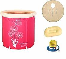 Pumpink Badewanne Barrel Erwachsene Badewanne Aufblasbare Badewanne Verdicken Kunststoff Halterung Falten Badewanne Home Tub Bad Eimer ( Color : Pink , Größe : 70*75 )