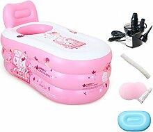 Pumpink Einfache aufblasbare Badewanne Adult Bath Home Badewanne Kunststoff Falten Große Verdickung Portable Pool Spa Keg Eimer ( Color : Pink , Größe : 150cm*85cm*75cm )