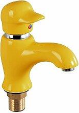 Pumpink Mini Bunte Mischbatterie Kind Waschbecken Wasserhahn Waschbecken Spray Wasserhahn Einzelne Heiße Und Kalte Einlochmontage Keramik Cartoon Messing Metall Bad Mixer ( Color : Beige )