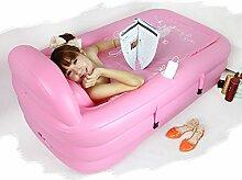 Pumpink Verdickung große aufblasbare Badewanne faltende Badewannen-erwachsene Wannen-Swimmingpool-Bad-Fass-Bad-Fass ( Color : Pink )