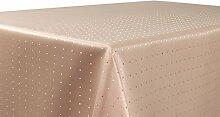 Punkte Damast Tischdecke, feste bügelfreie Stoffqualität, Größe und Farbe wählbar, Cappuccino Eckig 130x260 cm, Beautex