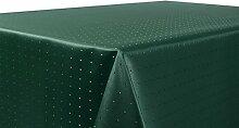 Punkte Damast Tischdecke, feste bügelfreie Stoffqualität, Größe und Farbe wählbar, Dunkelgrün Eckig 135x200 cm, Beautex