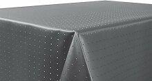 Punkte Damast Tischdecke, feste bügelfreie Stoffqualität, Größe und Farbe wählbar, Grau Eckig 135x180 cm, Beautex