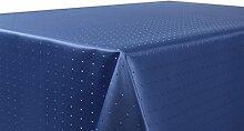 Punkte Damast Tischdecke, feste bügelfreie Stoffqualität, Größe und Farbe wählbar, Dunkelblau Rund 180 cm, Beautex
