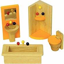 Puppenhaus, Mini Badezimmer aus Holz
