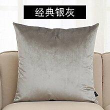 Pure Farbe Kissen Bett einfache Mode Sofakissen Flanell Taille Kissen, 45x45cm, b