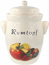 Pure Nature Keramik-Rumtopf mit Dekor, 5 l
