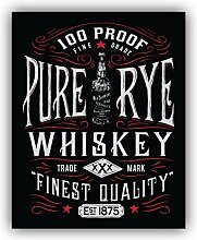 Pure Rye Whiskey Retro Emblem - Self-Adhesive