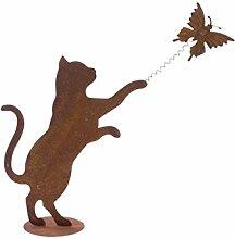 Pureday Dekofigur Spielende Katze - Gartendeko -