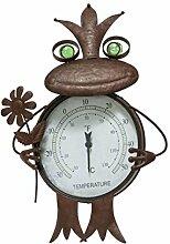 Pureday Gartenstecker Frosch Thermometer Metall