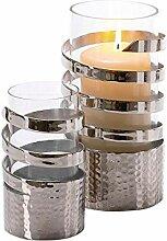 Pureday Windlicht Curly - Metall Glas - Silber -