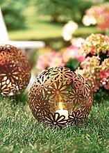 PureDay Windlicht Rost Flowers - Gartendeko -