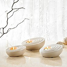 Purelifestyle, GYP023, 3 tlg. Set Porzellan Teelichthalter Teelichter Halter in 3 Größe Kerzenhalter Tischdeko Hochzeitsdeko Weihnachtsgeschenk Valentinstag Geschenk