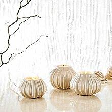 Purelifestyle, GYP026, 3 teilig Set Porzellan Teelichthalter Kürbis Form Teelichter Halter in 3 Größe Kerzenhalter Deko Tischdeko Hochzeitsdeko