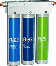 Puricom FT-LINE 3. Aktivkohle-Wasserfilter-System mit UF-Filtration ohne Wasserhahn inkl. Anschlusset geeignet für Sprudel-Lok, Sprudelux, Sprudelgeräte, Wassersprudler, Sprudelsysteme