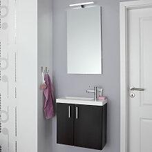 Puris For Guests Badmöbel Set 1 - 50 cm, Flächenspiegel, Mineralguss-Waschtisch und Waschtischunterschrank- B: 504 H: 2000 T: 255