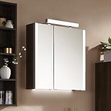 Puris Milano Spiegelschrank - 63 cm, 2 Doppelspiegeltüren seitl. Beleuchtung und Aufbauleuchte Variante links- B: 632 H: 640 T: 160