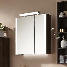 Puris Milano Spiegelschrank - 63 cm, 2 Doppelspiegeltüren seitliche Beleuchtung u. Aufbauleuchte Variante rechts- B: 632 H: 640 T: 160