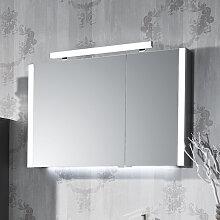 Puris Milano Spiegelschrank - 93 cm, 2 Doppelspiegeltüren, 2 seitliche Beleuchtungsprofile, LED-Aufbauleuchte- B: 932 H: 640 T: 160