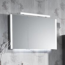 Puris Milano Spiegelschrank - 93 cm, 2 Doppelspiegeltüren seitliche LED Beleuchtung, Aufbauleuchte, Variante links- B: 932 H: 640 T: 160