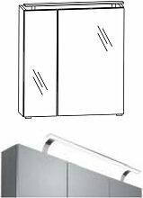 Puris Spiegelschränke Spiegelschrank Serie C - 60 cm - 2 Spiegeltüren u LED Aufbauleuchte Variante rechts- B: 600 H: 640 T: 150