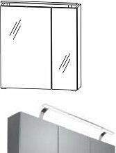 Puris Spiegelschränke Spiegelschrank Serie C - 60 cm - 2 Spiegeltüren und LED Aufbauleuchte Variante links- B: 600 H: 640 T: 150