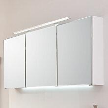 Puris Wave Plus Spiegelschrank - 120 cm, mit 3 Türen und 1 LED-Aufbauleuchte, wahlweise LED-Beleuchtung- B: 1200 H: 640 T: 150