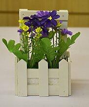 Purple Daisies in Holz Lattenzaun