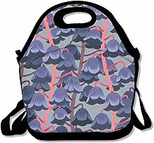 Purple Flower Lunch Bag Lunch Tote Bag Travel