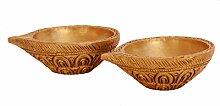 purpledip Messing Diya Deepak Öl Öllampe Paar mit traditionellem Muster: für Home Tempel Mandir (10918)