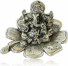 purpledip weiß Metall Ganesha auf Lotus Vorzeigeobjekt, indischen Geschenk Ideen (10176)