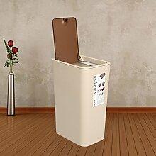 Push Müll kreative Art und Weise zu Hause Wohnzimmer Küche Bad Mülleimer Wohnung (Beige)