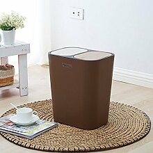 Push-Typ Double-Cover kann klassifiziert werden Mülleimer Kreative Küche Wohnzimmer Home Rectangle Trash ( Farbe : Braun )