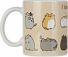 Pusheen Keramikbecher mit Katzenmotiven, Cremefarben