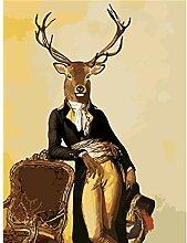 Puzzle 1000 Stück Holzpuzzle Gentleman Deer Paint