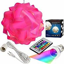 Puzzle Leuchten Kit, moderne Puzzle Lampe mit 12Füße Kordel und Fernbedienung 16Farbe wechselnde LED-Glühlampe Kit, große Größe, plastik, rose, e27, 3.00 wattsW