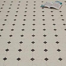 PVC Bodenbelag Fliese Marmor Schwarz Weiß 2,80 mm Breite 2 m (9,95 € p. m²)